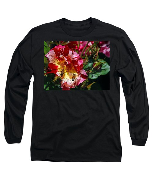 Long Sleeve T-Shirt featuring the photograph Dancing Bees And Wild Roses by Absinthe Art By Michelle LeAnn Scott