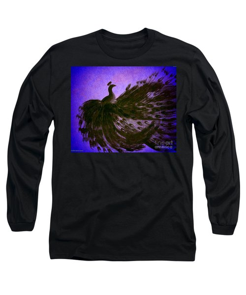 Long Sleeve T-Shirt featuring the digital art Dancing Peacock Vivid Blue by Anita Lewis
