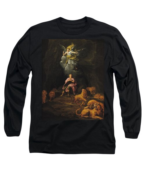 Daniel In The Den Of Lions Oil On Canvas Long Sleeve T-Shirt