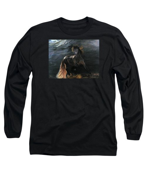 Dappled Horse In Stormy Light Long Sleeve T-Shirt by LaVonne Hand