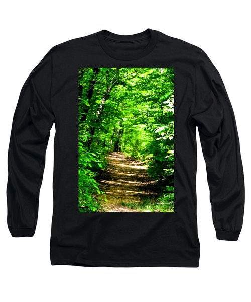 Dappled Sunlit Path In The Forest Long Sleeve T-Shirt by Maria Urso
