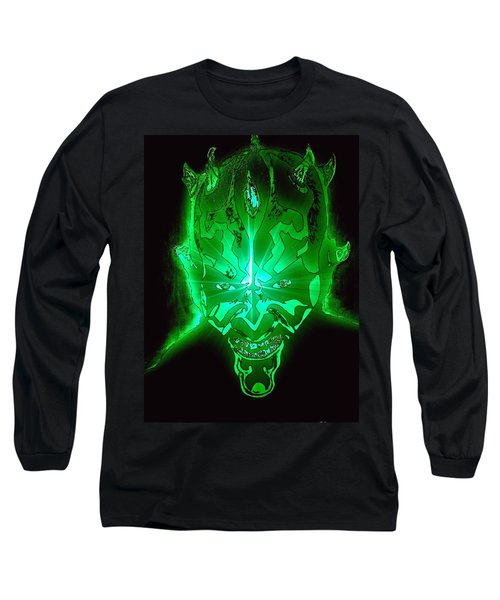 Darth Maul Green Glow Long Sleeve T-Shirt by Saundra Myles