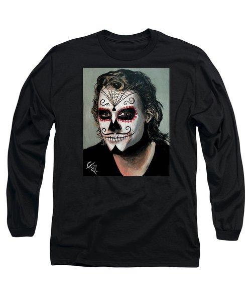 Day Of The Dead - Heath Ledger Long Sleeve T-Shirt by Tom Carlton