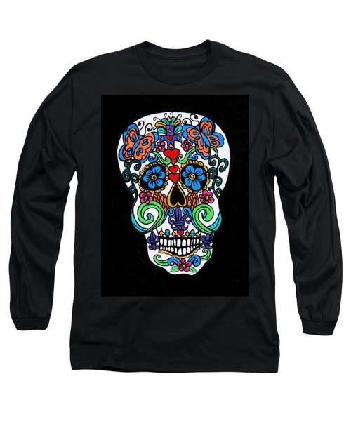 Day Of The Dead Skull Long Sleeve T-Shirt by Genevieve Esson