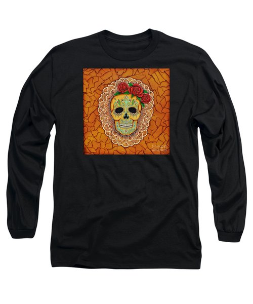 Day Of The Dead With Roses And Lace Long Sleeve T-Shirt by Joseph Sonday