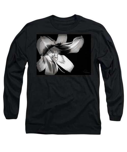 Daylily In Gray Long Sleeve T-Shirt