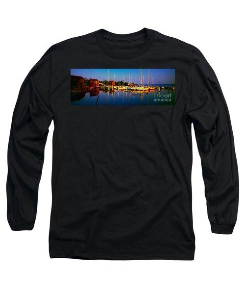 Daytona Beach Florida Inland Waterway Private Boat Yard With Bird   Long Sleeve T-Shirt