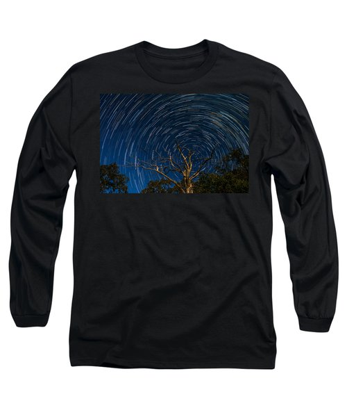 Dead Oak With Star Trails Long Sleeve T-Shirt by Paul Freidlund