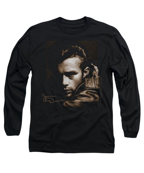 Dean - Brown Leather Long Sleeve T-Shirt by Brand A