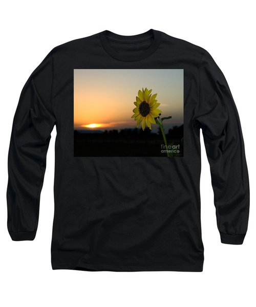 Long Sleeve T-Shirt featuring the photograph Sunflower And Sunset by Mae Wertz