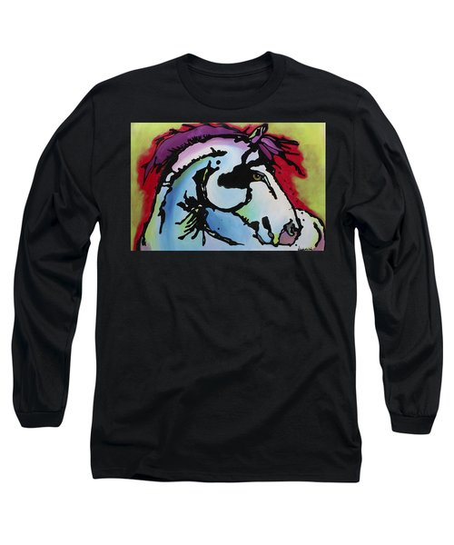 Long Sleeve T-Shirt featuring the painting Deep Red Bells by Nicole Gaitan