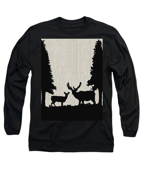 Deer In Forest Long Sleeve T-Shirt by Enzie Shahmiri