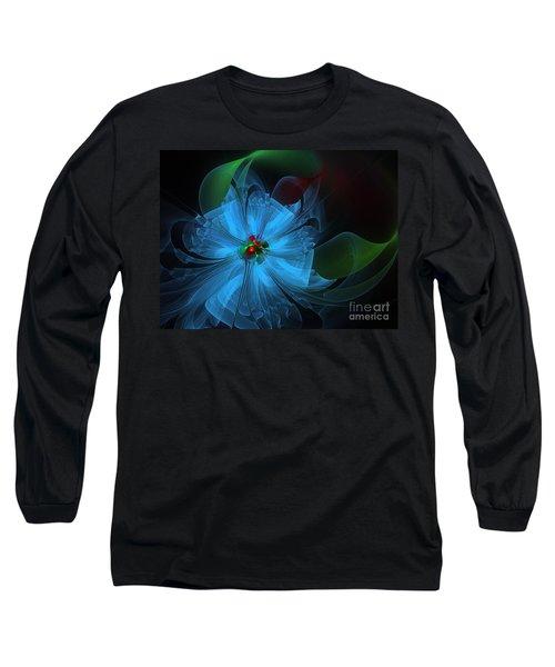 Delicate Blue Flower-fractal Art Long Sleeve T-Shirt