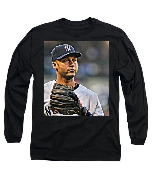 Derek Jeter Portrait Long Sleeve T-Shirt
