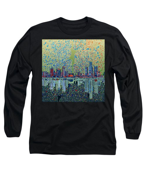 Detroit Skyline Abstract 3 Long Sleeve T-Shirt