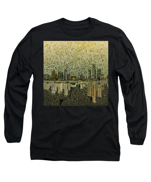Detroit Skyline Abstract 4 Long Sleeve T-Shirt