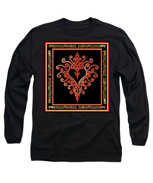 Long Sleeve T-Shirt featuring the digital art Devil's Heart by Vagabond Folk Art - Virginia Vivier