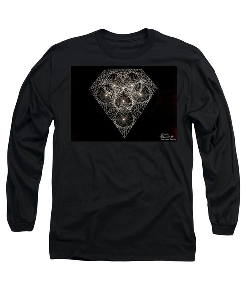 Long Sleeve T-Shirt featuring the drawing Diamond White And Black by Jason Padgett