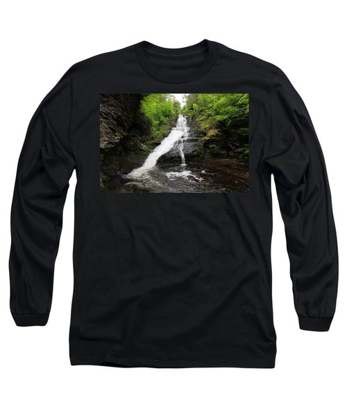 Long Sleeve T-Shirt featuring the photograph Dingmans Falls by Trina  Ansel