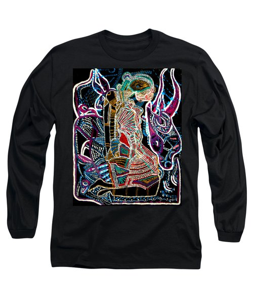 Long Sleeve T-Shirt featuring the painting Dinka Bride by Gloria Ssali
