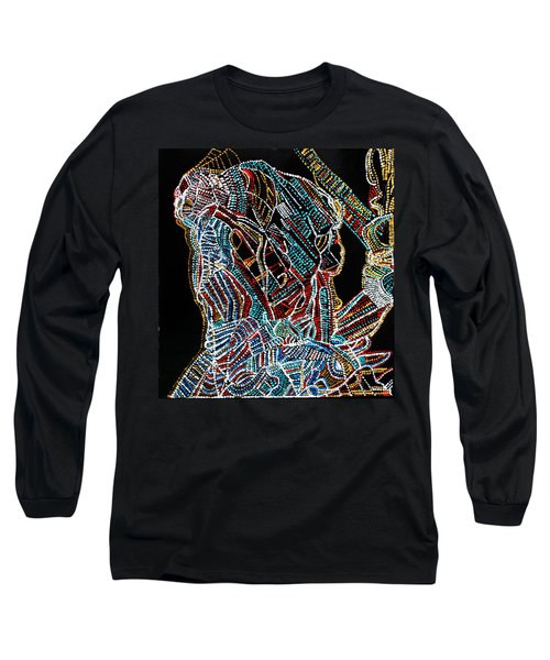Long Sleeve T-Shirt featuring the painting Dinka Warrior by Gloria Ssali
