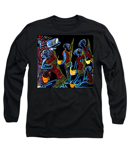 Long Sleeve T-Shirt featuring the painting Dinka Wise Virgins by Gloria Ssali