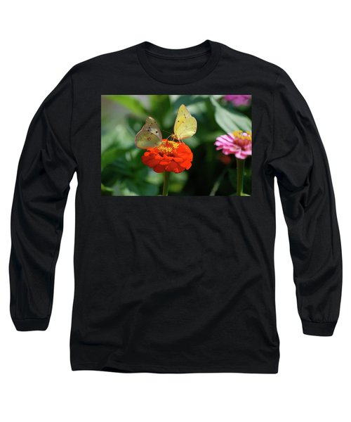 Long Sleeve T-Shirt featuring the photograph Dinner Table For Two Butterflies by Thomas Woolworth
