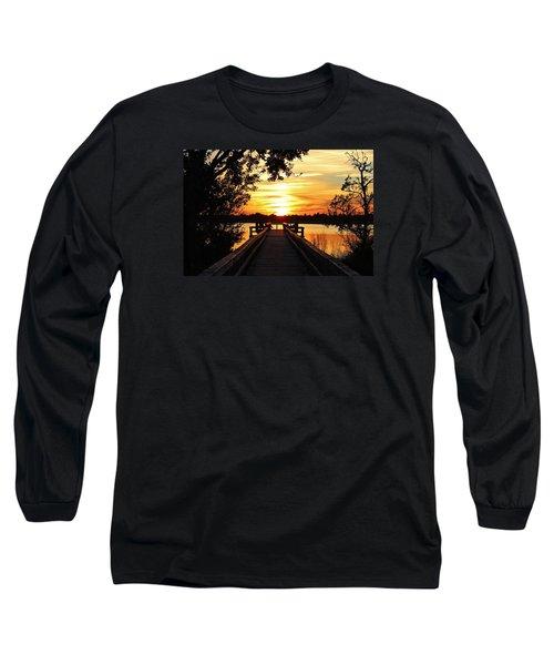 Disappearing Sun  Long Sleeve T-Shirt by Cynthia Guinn