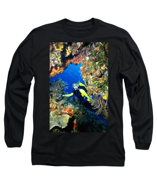 Divers Looks Into Cozumel Crevice Long Sleeve T-Shirt