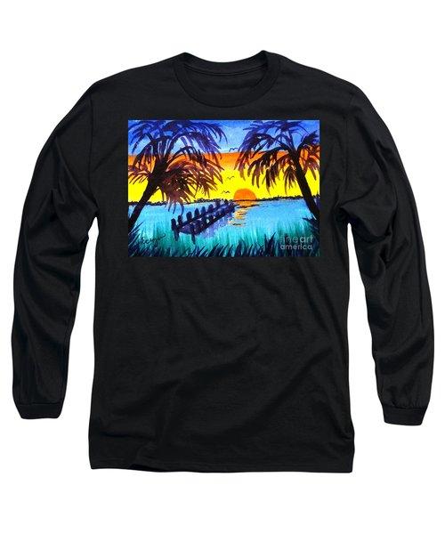 Dock At Sunset Long Sleeve T-Shirt