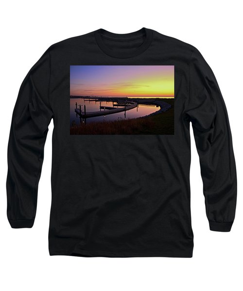 Docks At Sunrise Long Sleeve T-Shirt by Jonah  Anderson