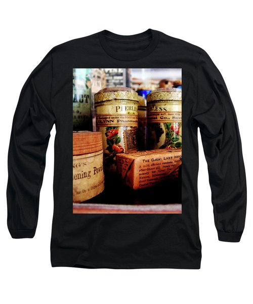 Long Sleeve T-Shirt featuring the photograph Doctor - Liver Pills In General Store by Susan Savad