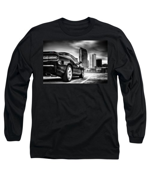 Dodge Challenger Tampa Skyline  Long Sleeve T-Shirt by Michael White