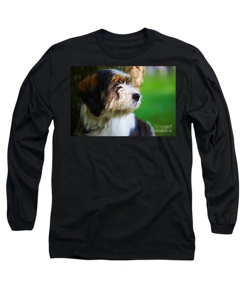 Dog Sitting Next To A Tree Long Sleeve T-Shirt