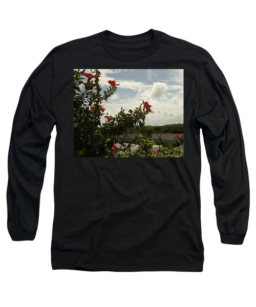 Dominican Red Flower Long Sleeve T-Shirt by Mustafa Abdullah