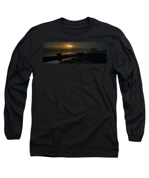 Long Sleeve T-Shirt featuring the photograph Dories Beached In Lifting Fog by Marty Saccone