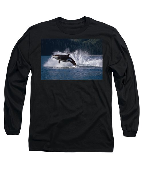 Double Breaching Orcas Bainbridge Long Sleeve T-Shirt