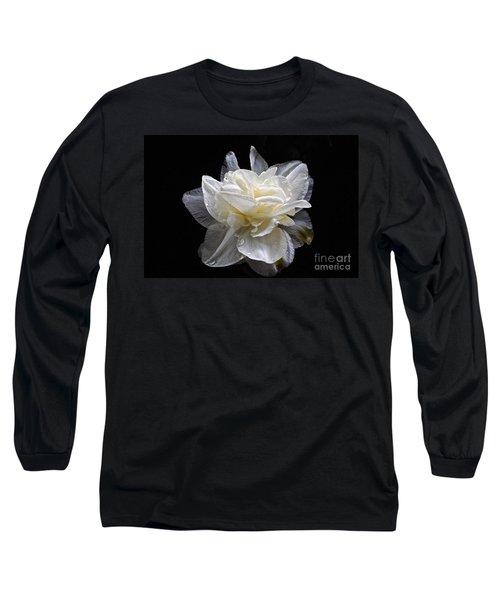 Double White Daffodil In Dark Water Long Sleeve T-Shirt