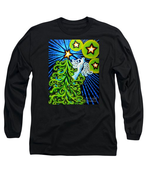 Dove And Christmas Tree Long Sleeve T-Shirt by Genevieve Esson