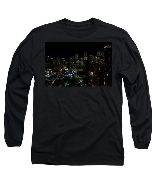 Downtown Houston At Night Long Sleeve T-Shirt by Judy Vincent