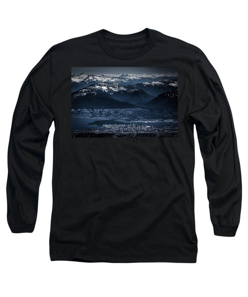 Downtown Vancouver And The Mountains Aerial View Low Key Long Sleeve T-Shirt