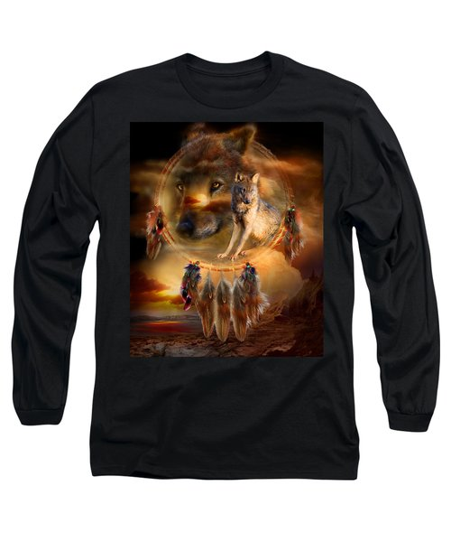 Long Sleeve T-Shirt featuring the mixed media Dream Catcher - Wolfland by Carol Cavalaris