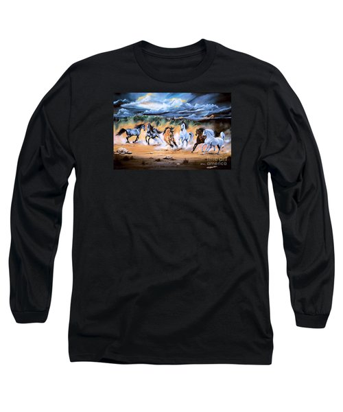 Dream Horse Series 125 - Flat Bottom River Wild Horse Herd Long Sleeve T-Shirt