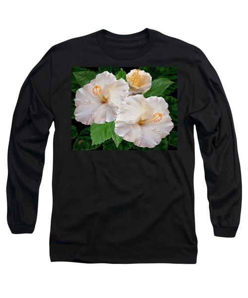 Dreamy Blooms - White Hibiscus Long Sleeve T-Shirt by Ben and Raisa Gertsberg