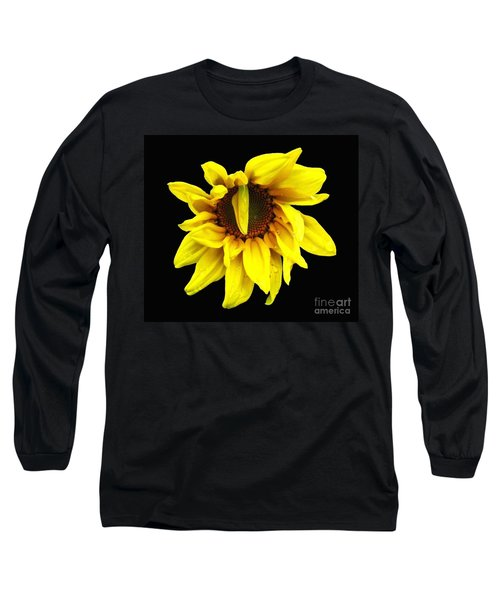 Long Sleeve T-Shirt featuring the photograph Droops Sunflower With Oil Painting Effect by Rose Santuci-Sofranko