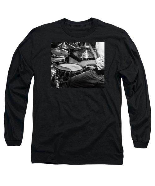 Drummer At Work Long Sleeve T-Shirt