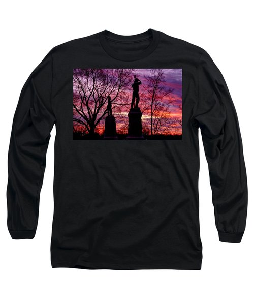 Long Sleeve T-Shirt featuring the photograph Durell's Independent Battery D And 48th Pa Volunteer Infantry-a1 Sunset Antietam by Michael Mazaika