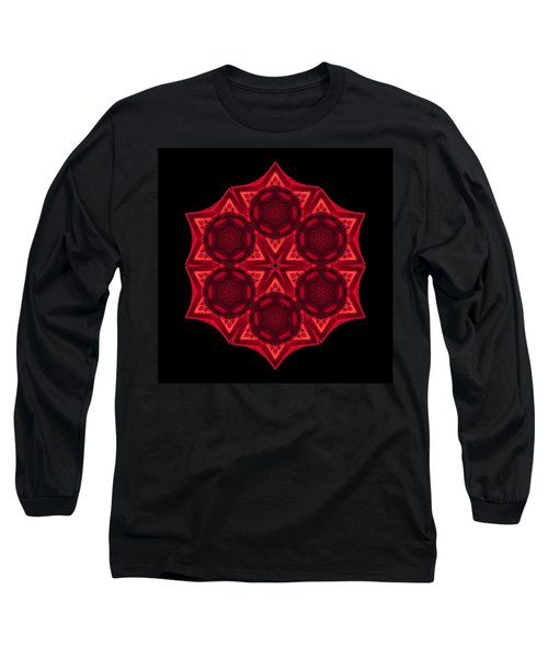 Long Sleeve T-Shirt featuring the photograph Dying Amaryllis IIi Flower Mandala by David J Bookbinder