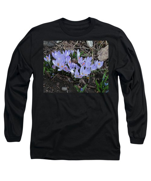 Long Sleeve T-Shirt featuring the photograph Early Crocuses by Donald S Hall