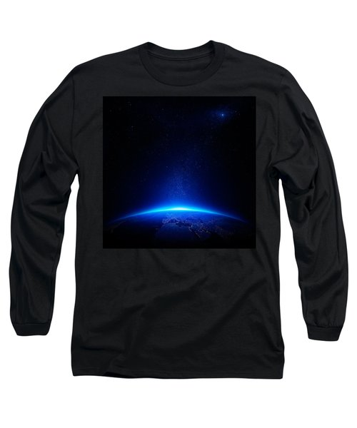 Earth At Night With City Lights Long Sleeve T-Shirt by Johan Swanepoel